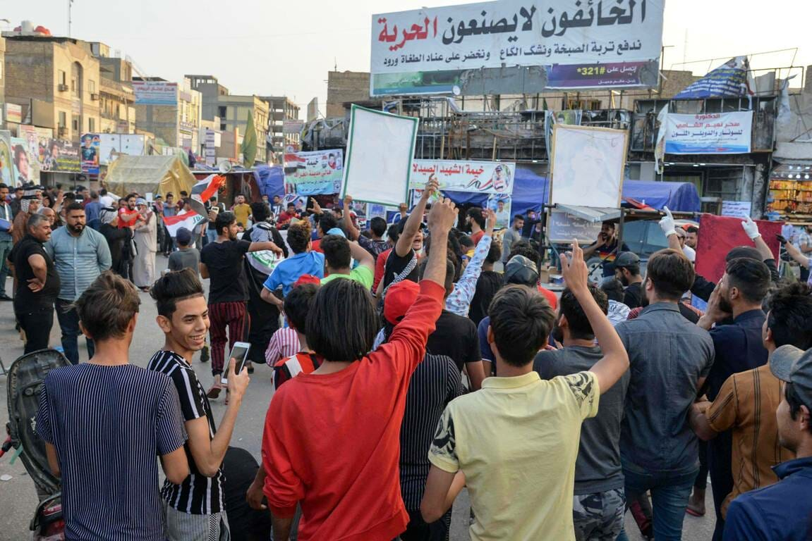Demonstranten im irakischen Nasiriyah Mitte März. (imago images/ZUMA Wire)