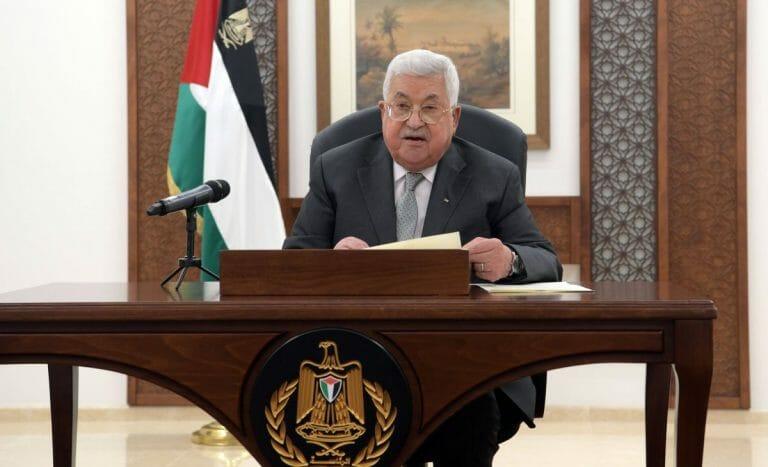 Präsident der Palästinensischen Autonomiebehörde Mahmoud Abbas bei einer Rede in Ramallah