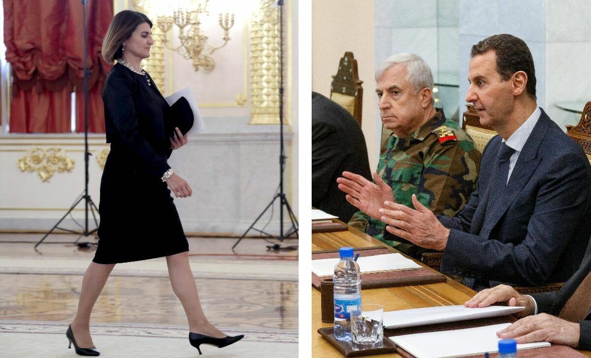 Die alte und neue griechische Botschafterin Tasia Athanasiou und Syriens Präsident Assad