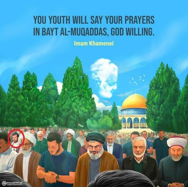 Offizielles Plakat von Khamenei zum Al-Quds-Tag mit Houthi-Anführer Abdul-Malik al-Huthi