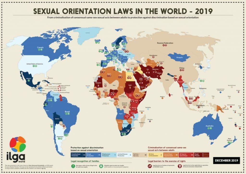 Karte der ILGA zur Situation von LGBT-Personen weltweit