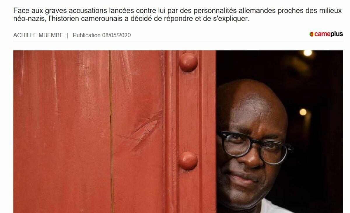 """Artikel von Achille Mbembe in der Zeitung CamePlus, die Mbembe-Kritiker """"neo-nazistischen Kreisen"""" zurechnet"""