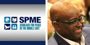 Logo der Scholars for Peace in the Middle East, Achille Mbembe