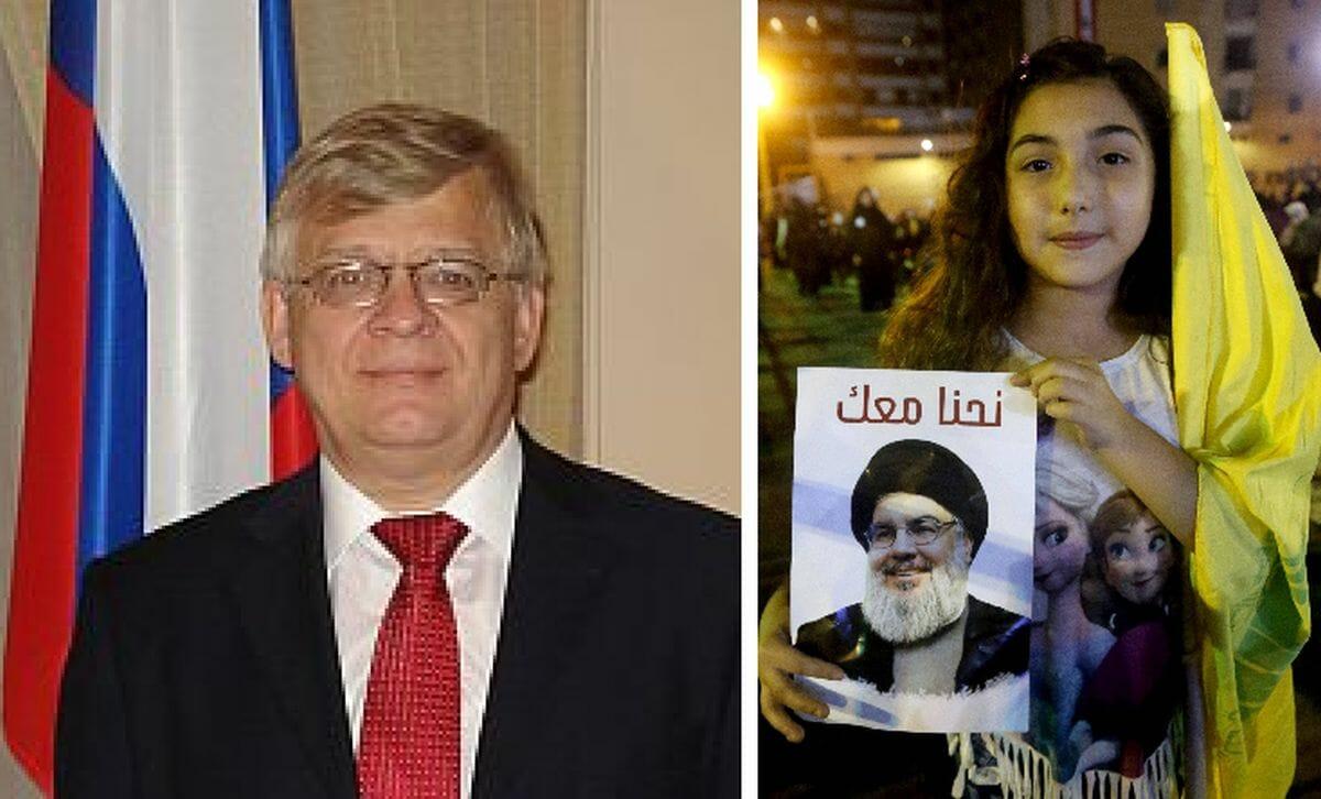 Der russische Botschafter im Libanon Alexander Zasypkin, Hisbollah-Chef Hassan-Nasrallah