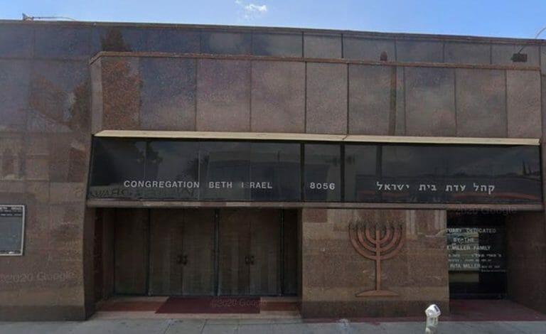 """Die mit """"Fuck Israel. Free Palestine"""" beschmierte Synagoge in Los Angeles"""
