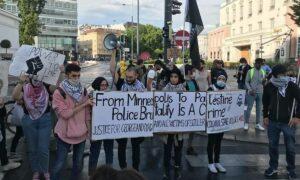 Auch bei der Black-Lives-Matter-Demonstration in Wien war die Israelboykott-Bewegung BDS anwesend
