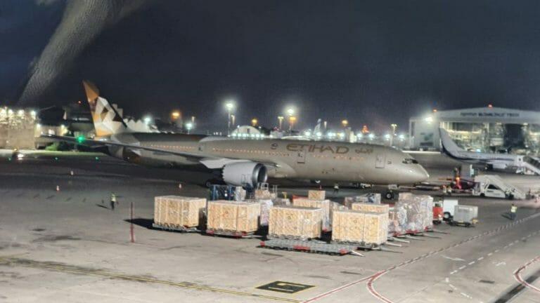 Die Ethihad-Maschine mit Corona-Hilfe aus den Vereinigten Arabischen Emiraten auf dem Flughafen von Tel Aviv