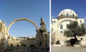 Die 1948 von Jordanien zerstörte und 2010 wiederaufgebaute Hurva-Synagoge in Jerusalem