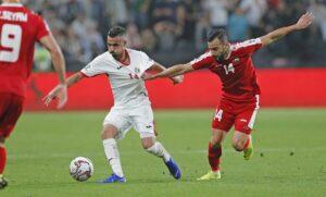 Abdallah Jaber (li.) darf nicht mehr fürs palästinensische Nationalteam spielen