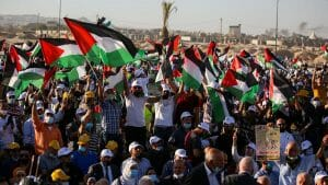 Auch Vertreter der UNO und der EU nahmen an der Fatah-Kungebung gegen Israels Souveränitätspläne teil