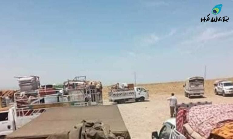 Jesiden fliehen vor den türkischen Luftangriffen im Nordirak