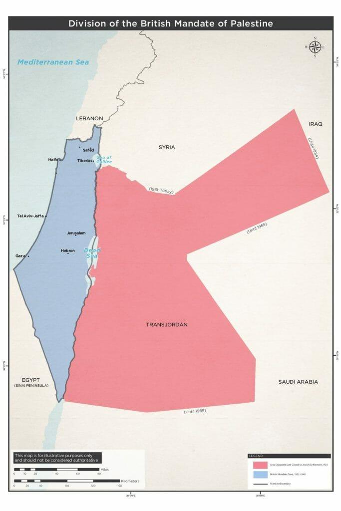 Teilung des britischen Mandatsgebiets 1924