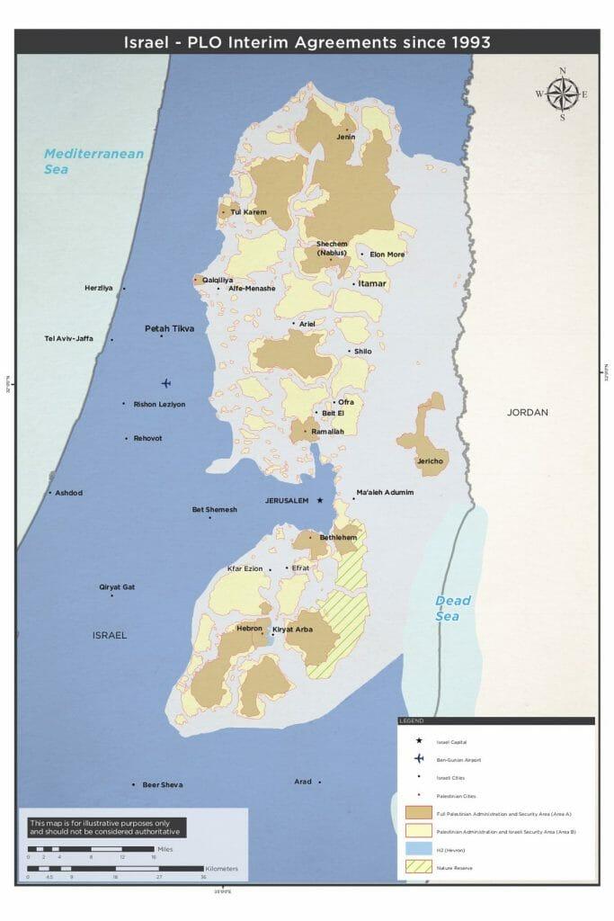 Zoneneinteilung der Westbank anhand des Oslo-Abkommens