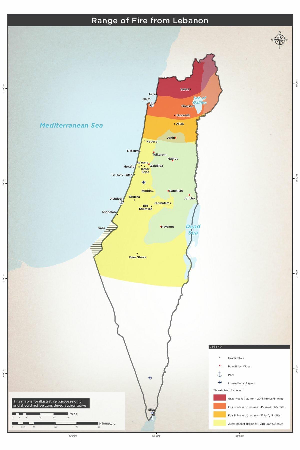 Reichweite der Raketen aus dem Libanon
