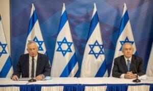 Israels Verteidigungsminister Gantz und Premierminister Netanjahu auf einer Pressekonferenz nach dem Hisbollah-Angriff