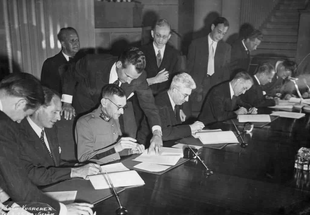 Unterzeichnung der IV. Genfer Konvention am 12. August 1949