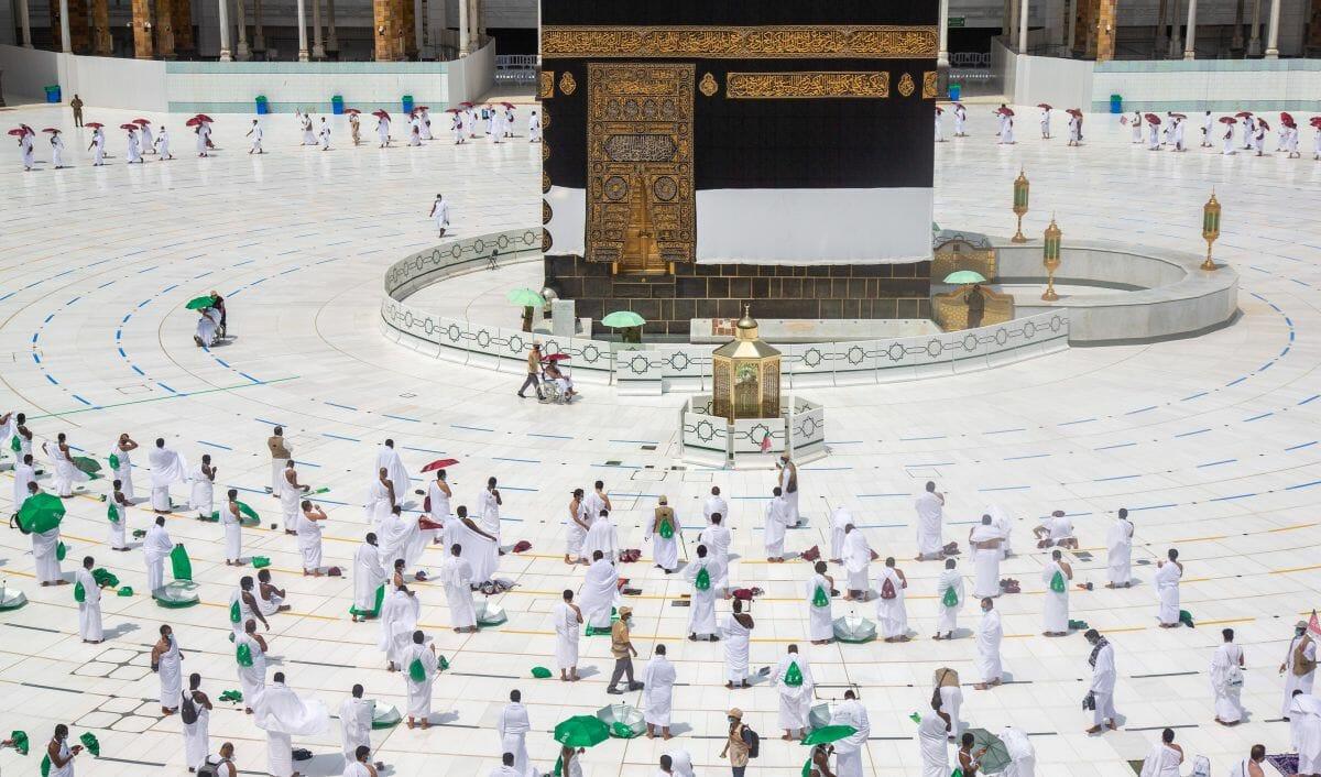 """Der Hadsch, die muslimische Pilgerreise nach Mekka, findet heuer wegen Corona in einer extrem verkleinerten Form statt (© <a href=""""https://www.imago-images.de"""">Imago Images</a> / Xinhua)"""