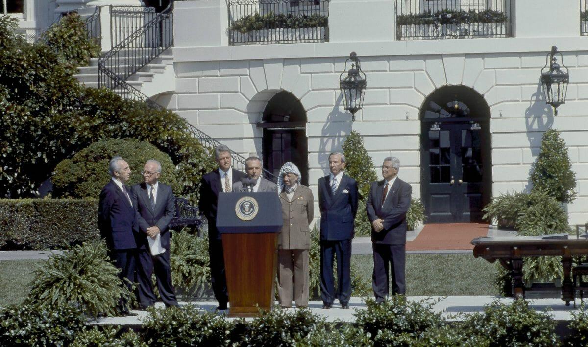 Zeremonie anlässlich der Unterzeichnung des Oslo-Abkommens