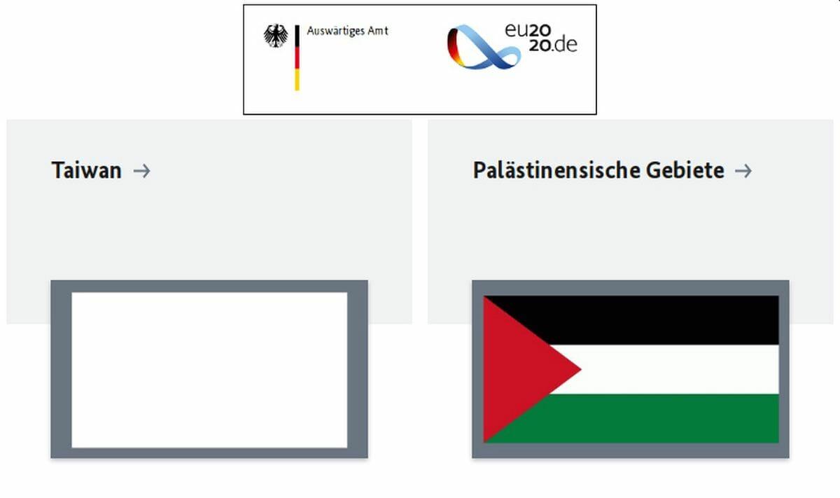 Auswärtiges Amt: Keine Flagge Taiwans aber eine der palästinensischen Gebiete