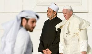 Papst Franziskus und Scheich al-Tayeb, Imam der der al-Azhar-Moschee und eine der wichtige religiöse Autoritäten des sunnitischen Islam