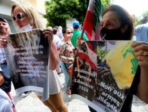 Demonstration Mitte Juli: Schon vor der katastrophalen Explosion in Beirut wurde gegen die Hisbollah protestiert. (imago images/ZUMA Wire)