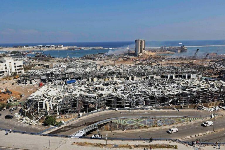 Der Ort der Explosion im Hafen von Beirut. (imago-images/Xinhua)