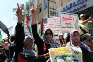 Auch sie halten an überkommenen Überzeugungen fest: Demonstration im Gazastreifen gegen Frieden mit Israel. (imago images/ZUMA Wire)