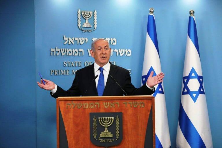 Premier Netanjahu bei der Ankündigung des Abraham-Abkommens zwischen Israel und den Emiraten. (imago images/UPI Photo)