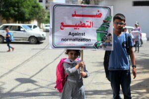 Das Narrativ der Palästinenser hat sich nicht geändert - wie auf dem Plakat zu sehen, geht es noch immer um Palästina vom Mittelmeer bis zum Jordan. (imago images/ZUMA Wire)