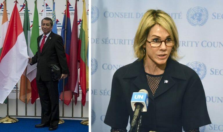 UN-Sicherheitsratsvorsitzender Dian Triansyah Djani und US-Botschafterin Kelly Craft