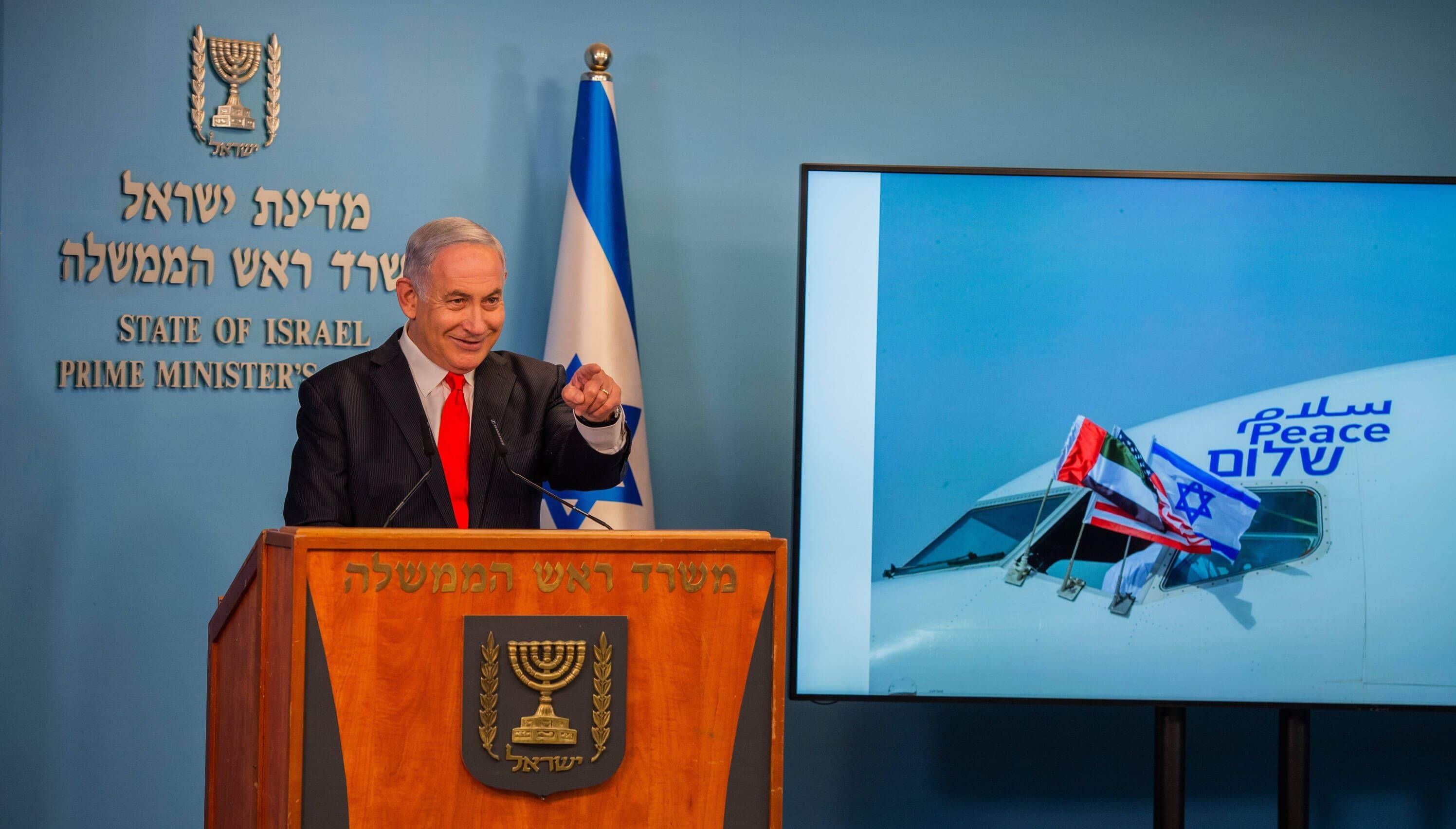 Israels Premier Netanjahu auf der Pressekonferenz anlässlich des ersten Fluges einer israelischen Maschine in die VAE
