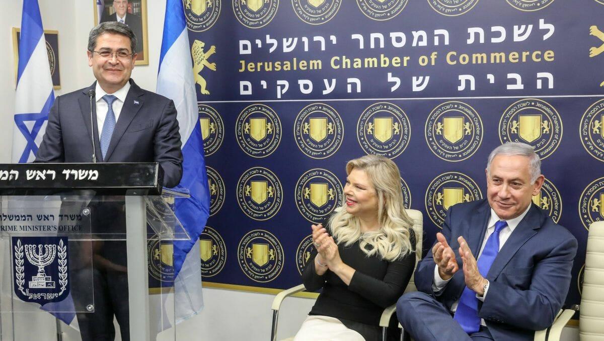 Israels Premier Netanjahu (re.) und Honduras' Präsident Hernández bei einer Veranstaltung in Jerusalem