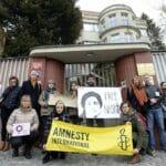 Demonstration für die Freilassung Nasrin Sotoudehs vor der iranischen Botschaft in Prag