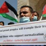 Palästinenser protestieren gegen die Normalisierungsabkommen mit Bahrain und den VAE