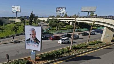Plakat des iranischen Revolutionsgardenführers Soleimani in Beirut