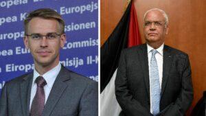 Außenpolitischer Sprecher der EU Peter Stano und Chefunterhändler der Palästinensischen Autonomiebehörde Saeb Erekat kritisieren Serbien und Kosovo