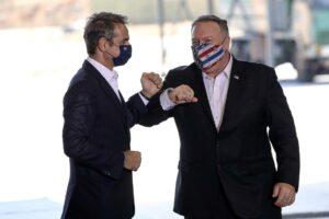 US-Außenminister Mike Pompeo (re.) mit seinem griechischen Amtskollegen Kyriakos Mitsotakis. Die USA stärken den Gegnern der Türkei den Rücken. (imago images/ANE Edition)