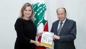 Claudine Aoun Roukoz mit ihrem Vater Präsident Aoun
