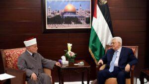 Der Mufti von Jerusalem Muhammad Hussein mit PA-Präsident Abbas