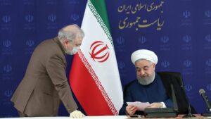 Irans Gesundheitsminister Saeed Namaki und Präsident Hassan Rohani