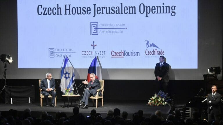 """Netanjahu und Zeman 2018 bei der Eröffnung des """"Tschechisches Hauses"""" in Jerusalem"""