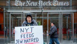 Demonstration 2019 gegen eine antisemitische Karikatur in der New York Times