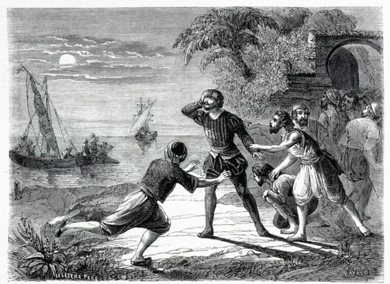 """Miguel Cervantes, der Autor von """"Don Quijote"""", gehörte zu den zahlreichen Europäern, die in die Sklaverei in Nordafrika verschleppt wurden. Das Bild zeigt seinen Fluchtversuch aus einem Sklavengefängnis in Algier. (© imago images/KHARBINE-TAPABOR)"""
