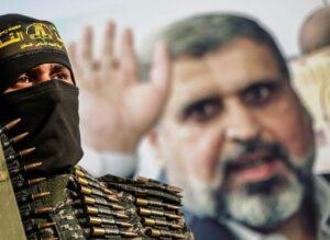 Terrorist des Palästinensischen Islamischen Dschihad bei einer Trauerfeier für seinen verstorbenen Anführer in Gaza. (© imago images/ZUMA Wire)