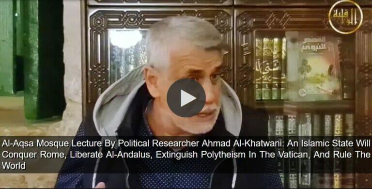 Der palästinensische Politikforscher Scheich Ahmad Al-Khatwani bei seiner Vorlesung in der Al-Aqsa-Moschee