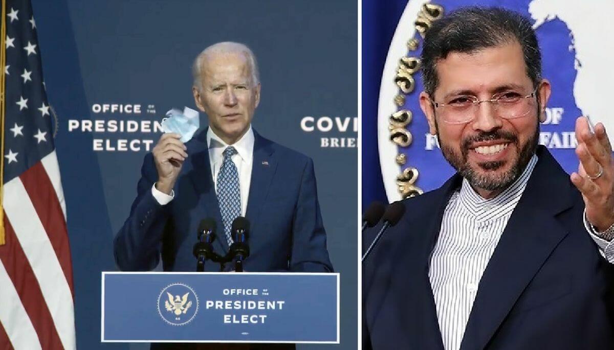 Joe Biden und der Sprecher des iranischen Außenministeriums Saeed Khatibzadeh