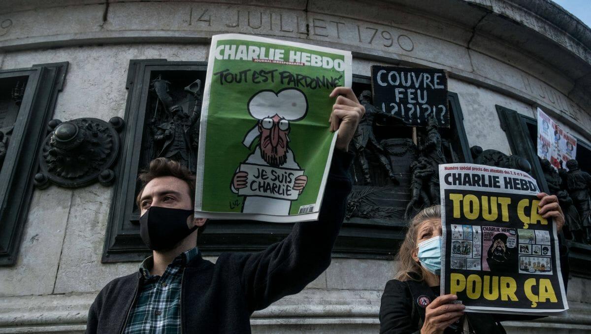 Demonstration in Paris nach der Ermordung Samuel Patys