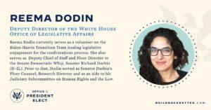 Joe Bidens designierte stellvertretende Direktorin des Büros für Gesetzgebungsangelegenheiten Reema Dodin