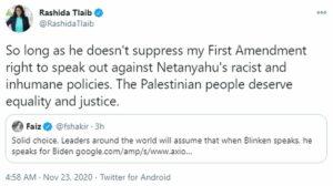 Rashida Talib reagiert auf Biden Ankündigung Blinken zum Außenminister machen zu wollen