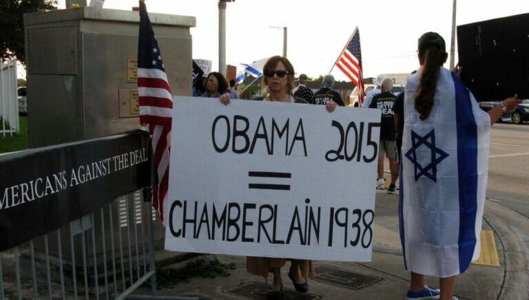 Demonstration gegen Obamas Appeasementpolitik gegenüber dem Iran
